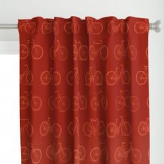 Retro Bicycles Red Pattern Jumbo Print Version Curtains @ Spoonflower #spoonflower #fabric #curtains