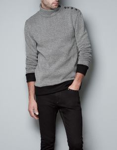 SWEATER WITH BUTTON DETAIL ON SHOULDER - T-shirts - Man - ZARA United States