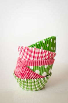 Cupcake Liners Pink and Green Party Set of 50