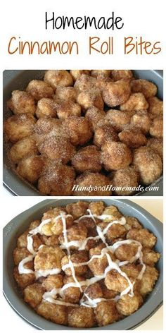 Homemade Cinnamon Roll Bites Recipe (inspiration only, use gf bread mix, coconut milk for dairy.maybe fry unto cinnamon roll donuts) Cinnamon Roll Bites Recipe, Cinnamon Rolls, Breakfast Recipes, Dessert Recipes, Homemade Desserts, Breakfast Plate, Def Not, Snacks, How Sweet Eats