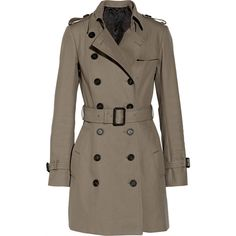 Burberry Burberry - Mid-length Cotton-gabardine Trench Coat - Gray... ($865) ❤ liked on Polyvore featuring outerwear, coats, jackets, burberry, trench coat, gabardine trench coat, gray trench coat and green coats