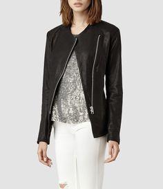 Womens Arlo Leather Jacket (Black) | ALLSAINTS.com