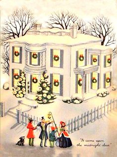 beautiful, big white mansion with carolers