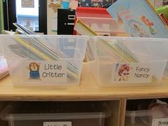 Kindergarten teacher Adrienne German uses images of favorite characters and a friendly font to mark the bins storing books for her young readers.