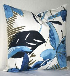 YESSSSSSSSS  Navy Blue and White 18 inch Decorative Pillows Accent by PatsTable, $18.00