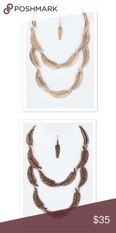 🆕 { The Autumn } Necklace Set Metal Linked Feathers Layered Necklace Set Available in Copper and Gold Necklace is approximately 18 inches + ext Earrings are approximately 1.8 inches long Lead and Nickel Compliant faith & sparkle Jewelry Necklaces