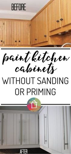 How To Paint Kitchen Cabinets: No Painting/Sanding! | Tutorials ...