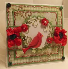 Cheryl Walker: Sweeet Designs by Cherl for CottageBLOG: Sweeet Christmas Wishes - 11/18/12  (dies: Red Bird Wreath; Snowflake Border).  (Pin#1: Christmas: Birds.  Pin+: Dies: Cottage Cutz).