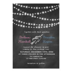 Blue and Pink Blackboard Twinkle Lights Invite