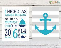 Nautical Birth Stats, Nautical Nursery Decor, Striped Nautical Nursery, Anchor, Sailboat, Lighthouse Nursery art, turquoise, navy