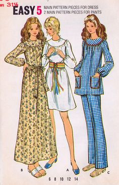 1970s Misses Dress Top and Pants