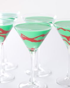 Holiday Grasshopper Cocktail--Vodka, Green Creme de menthe, half and half, Cupcake flavored Magic Shell, Colored Red.