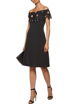 03bf6cf5e03ca Off-the-shoulder open knit-trimmed embellished crepe dress | CHRISTOPHER  KANE | Sale up to 70% off