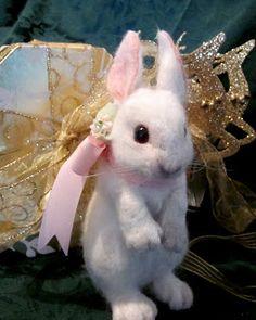 Needle Felted Art by Robin Joy Andreae: Baby Snow Bunny