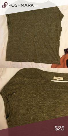 Madewell, green top Linen, beautiful green, slouchy, top. Like new. Never worn. Madewell Tops Tees - Short Sleeve