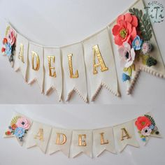 Personalized name boho garland, handmade and made to order. This decor is perfect for hanging on the wall at childs room. On the photos is banner in pastel colours, but you can choose the colour of the flags(pennant), letters and flowers.  Please contact me about the details. Dimensions of