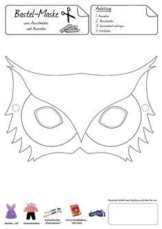 Eulen-Maske. Das trendige Tier zum Aufsetzen und Verkleiden! Halloween Party Games, Halloween Crafts For Kids, Crafts For Girls, Diy For Kids, Black And White Owl, Owl Mask, Harry Potter Baby Shower, Owl Templates, Egg Carton Crafts