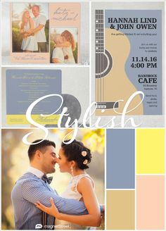 Be inspired with this chic peach and blue wedding color palette from our 2016 Spring Color Trends! Gold and sunny yellow accents add energy!