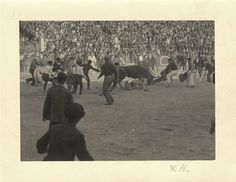 Ernest Hemingway trying his hand at bullfighting in Pamplona, He can be seen right of center, in white pants and a dark sweater, facing a charging bull. Photo Album Scrapbooking, Scrapbook Albums, Short Stories, True Stories, Ernst Hemingway, Hemingway Quotes, Charging Bull, Running Of The Bulls, The Sun Also Rises