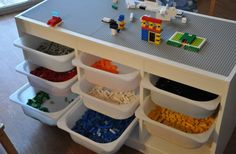 Great storage idea for Legos.   Ikea Trofast cabinet and tubs.