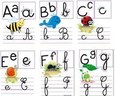 Alphabet, c est trop beau ! French Flashcards, Flashcards For Kids, Worksheets For Kids, Police Cursive Standard, Alphabet Display, French Education, Craft Online, Homeschool Kindergarten, Teaching French