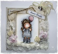 """Magnolia Card created by LLC DT Member Karita Vainio, using papers from Pion Design's """"Studio of Memories"""" collection."""