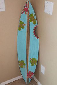 Hand painted tropical sunset wood surf board by solidstuff for Planche de surf decorative