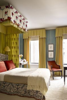 Mustard Colored Curtains Complement The Canopy Bed. Linen Bedroom, Bedroom  Bed, Master