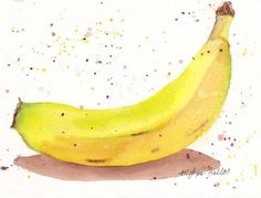 Simply Banana Fruit Watercolor Original Painting 5x7