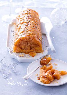 Une bûche de Noêl façon tarte tatin très originale pour les fêtes de fin d'année.