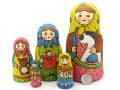 Russian nesting doll 5 HAND PAINTED Matt Martryoshka Girls & Toys RYABOVA signed