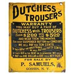 Antique 'Dutchess Trousers' Sign | 1stdibs.com