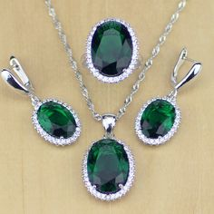 Green Cubic Zirconia White Zircon 925 Sterling Silver Jewelry Sets For Women Wedding Earrings/Pendant/Necklace/Rings //Price: $17.99 & FREE Shipping //     #hashtag3