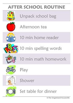 Afternoon Routine Chart - Purple