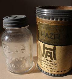 HAZEL-ATLAS MASON JAR BANK WITH MAILING TUBE VERY CLEAN complete set
