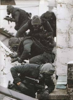 The British Special Air Service (SAS) operatives during the Operation Nimrod (Iranian Embassy Siege) on 5 May 1980.