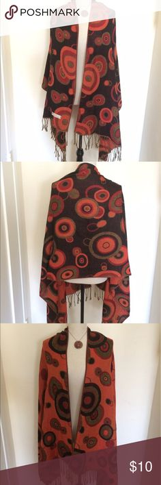 Orange and Black Pashmina 45% silk 55% pashmina, couple small pulls but not noticeable Accessories Scarves & Wraps
