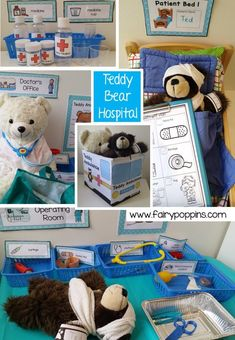 Fun Dramatic Play Ideas- Fun Dramatic Play Ideas Teddy Bear Hospital dramatic play center and printables ~ Fairy Poppins - Dramatic Play Themes, Dramatic Play Area, Dramatic Play Centers, Preschool Dramatic Play, Camping Dramatic Play, Doctor Role Play, Playing Doctor, Prop Box, Preschool Centers