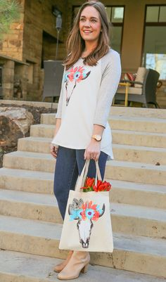 Glam Bull 3/4 Sleeve Baseball Tee and Glam Bull Tote Bag in Canvas from Kickoff Couture #bull #flowercrown #boho #baseballtee #totebag #kickoffcouture