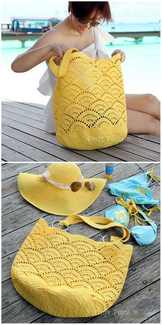 Giant Shell Stitch Beach Tote Crochet – Purses And Handbags Diy Beach Crochet, Crochet Tote, Crochet Handbags, Crochet Purses, Love Crochet, Crochet Crafts, Knit Crochet, Crochet Summer Hats, Crochet Stitch