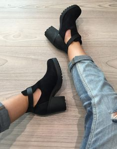 Trend Shoes Black openwork boots with buckle strap - Women Shoes Women's Shoes, Shoes 2017, Sock Shoes, Cute Shoes, Me Too Shoes, Dance Shoes, High Heel Boots, Ankle Boots, Heeled Boots