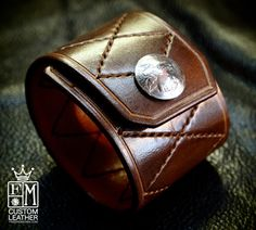 Leather Cuff Custom Quilted Handstitched Luxury by mataradesign