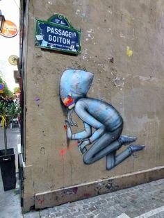 Street art hide and seek by SETH au «Lézarts de la Bièvre» 2013, passage Boiton – Paris
