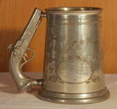 Vintage Flintlock Handle Nelson Battle of Trafalgar pewter Tankard, HMS Pembroke