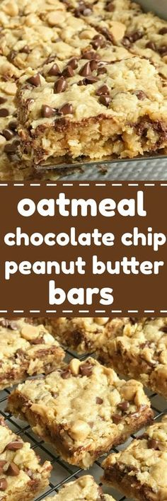 Oatmeal chocolate chip peanut butter bars are a family favorite dessert recipe that everyone loves. Soft cookie bars loaded with oatmeal, peanut butter, peanut butter chips, and chocolate chips. These are a peanut butter & chocolate lovers dream Mini Desserts, Desserts Keto, Brownie Desserts, Just Desserts, Delicious Desserts, Dessert Recipes, Yummy Food, Bar Recipes, Recipies