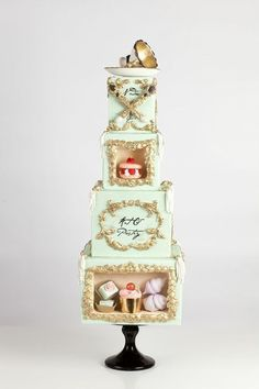 Shadowboxes filled with confections inspired by art pastry By Nadia and Co I like the shadowbox idea but not the design of the cake itself Black Wedding Cakes, Beautiful Wedding Cakes, Gorgeous Cakes, Pretty Cakes, Cute Cakes, Amazing Cakes, Wedding Cake Centerpieces, Fresh Flower Cake, Sugar Cake