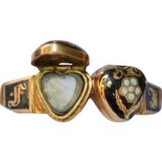 """18k Victorian Enamel Heart Locket Ring with Woven Hair Under Glass, 1845, """"In Memory Of"""" around the band."""