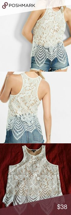 Express crochet cut in tank Medium NWT Medium tank in ivory floral lace with nude lining. Crew neck with scalloped lace hem Express Tops Tank Tops
