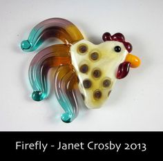 Polka Dot Rooster - Glass Lampwork Chicken Bead Pendant