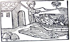 Tristan being sent into exile, from a medieval German woodcut Legend Drawing, Woodcut Art, Science Art, Renaissance, Sketches, Drawings, German, Graphics, Etchings